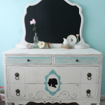 Antique Silhouette and Chalkboard Dresser