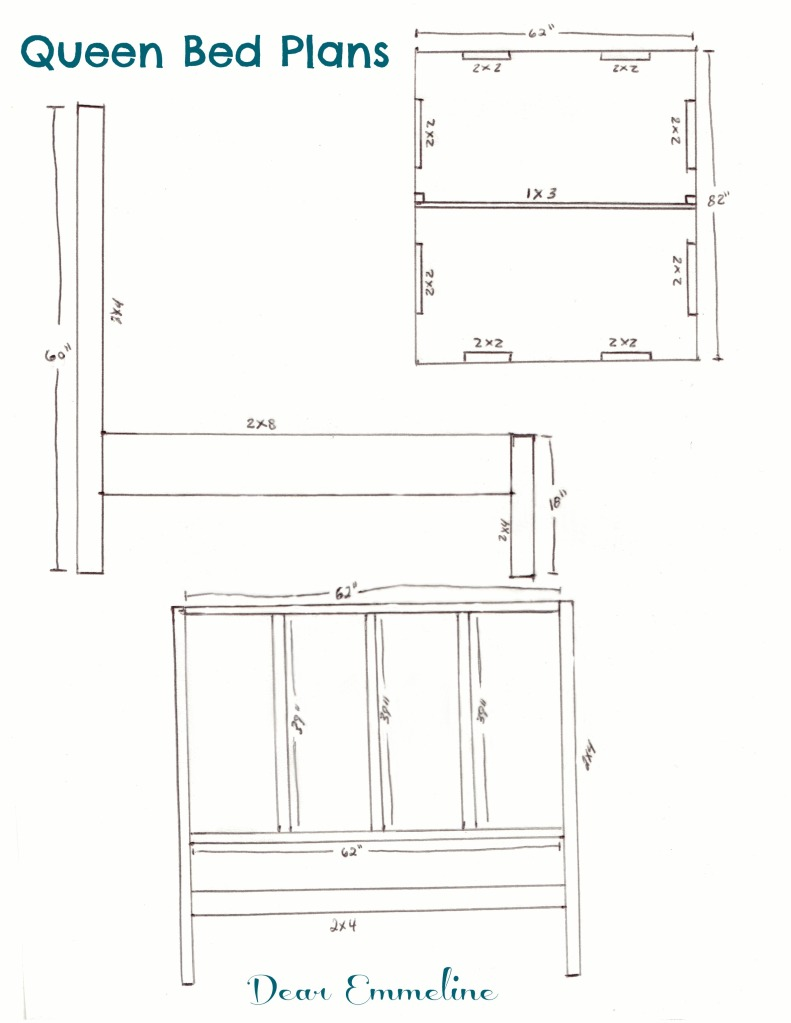The building of a bed queen bed frame plans Size of a queen size mattress