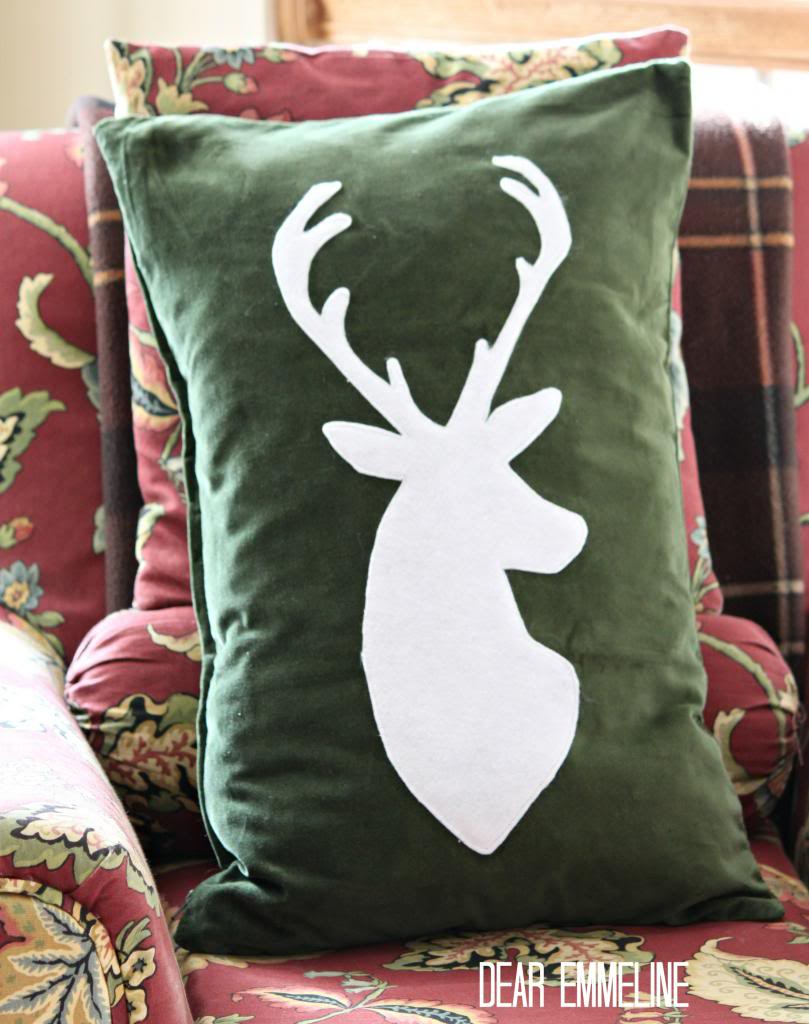Deer Silhouette Holiday Pillow {IKEA cover upstyle}