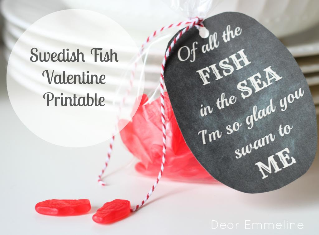 Swedish fish valentine and printable for All the fish in the sea