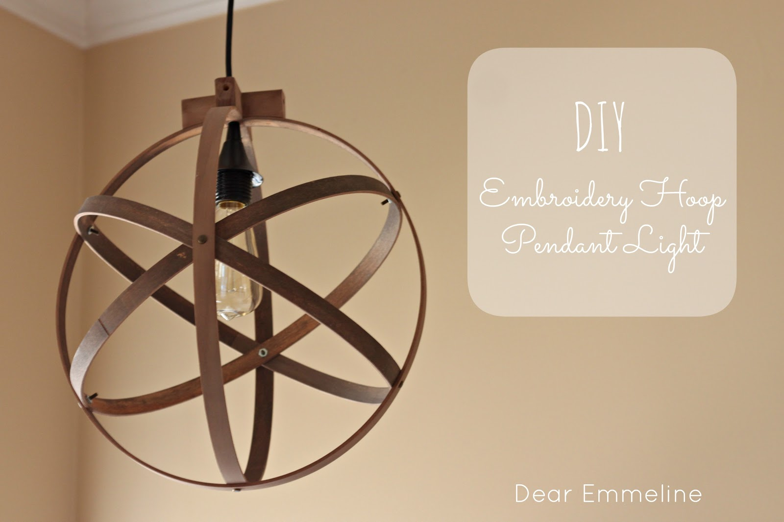 Diy easy embroidery hoop pendant for How to make a hanging light fixture
