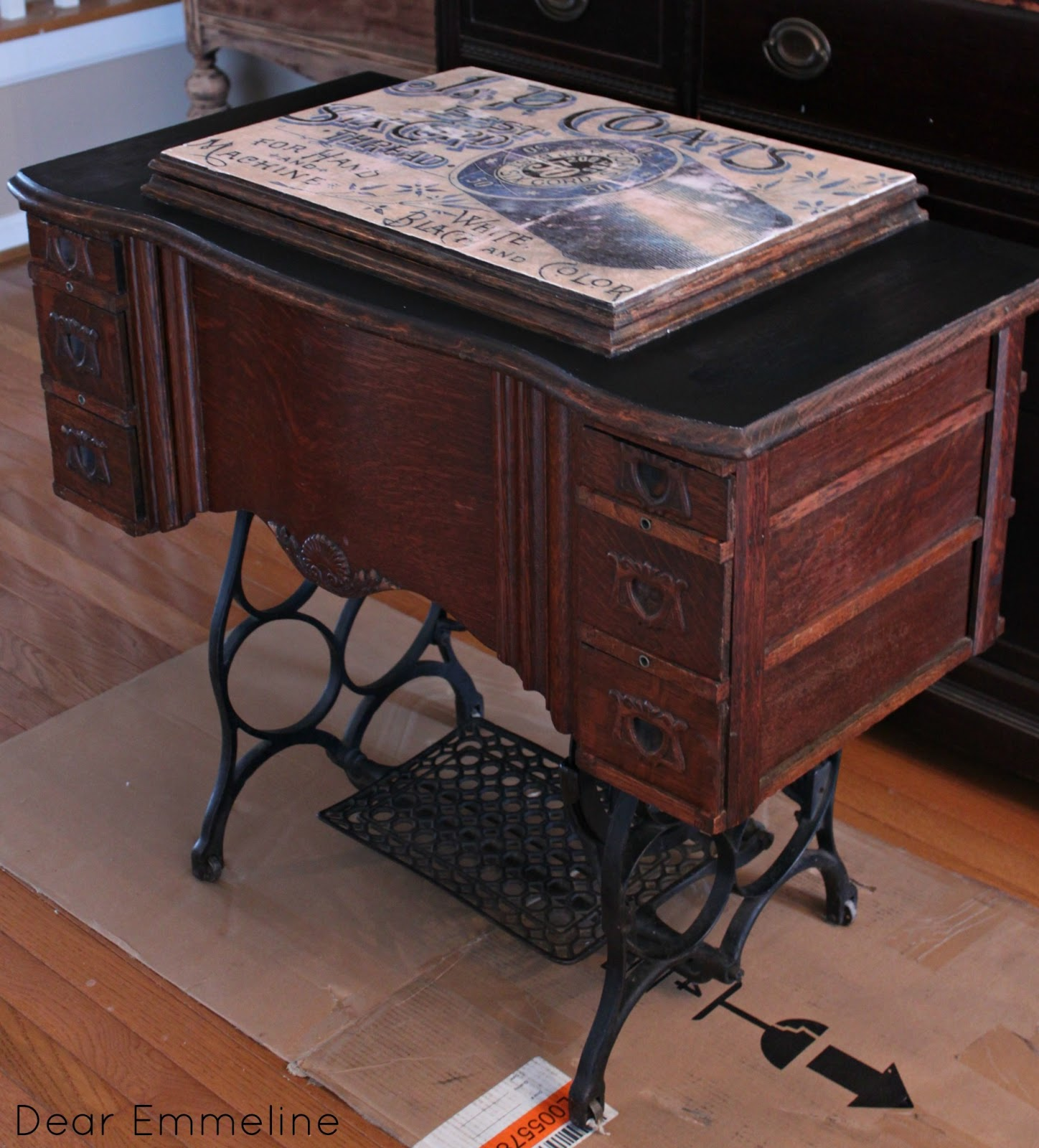 antique sewing table redo mod podge transfer. Black Bedroom Furniture Sets. Home Design Ideas