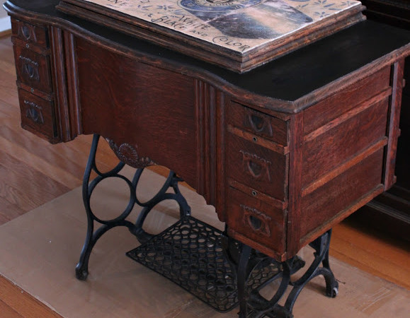 Antique Sewing Table Redo {Mod Podge Transfer}