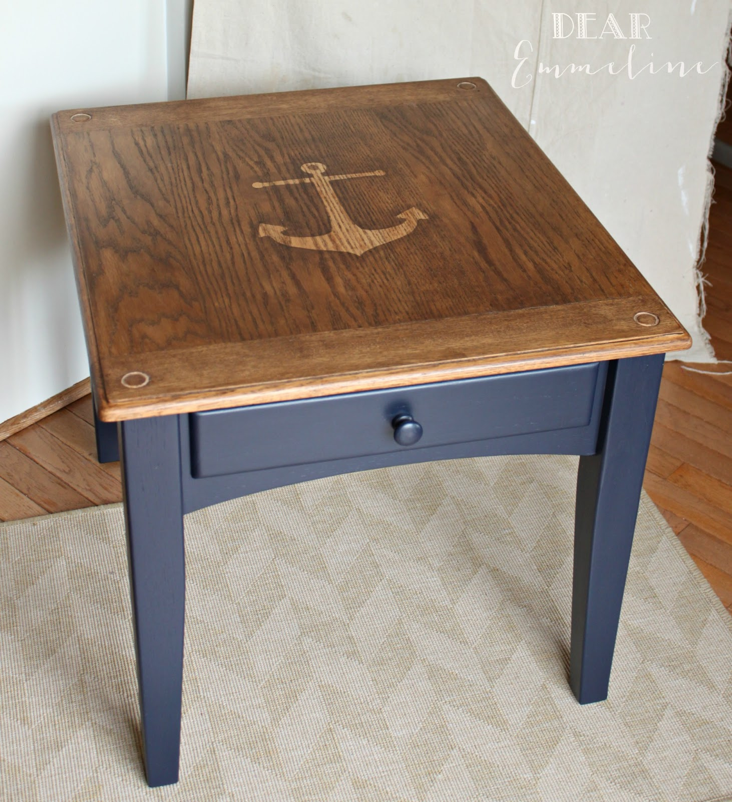 High Quality Anchors Aweigh End Table. Navy Blue Nightstand