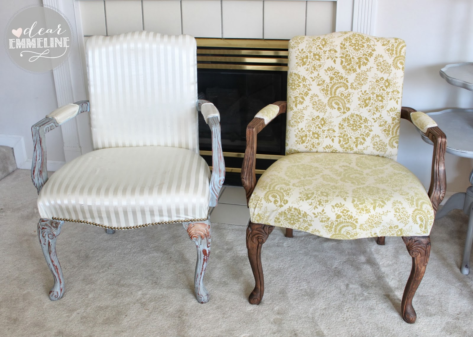 Stripped, Stained, & Upholstered Arm Chair