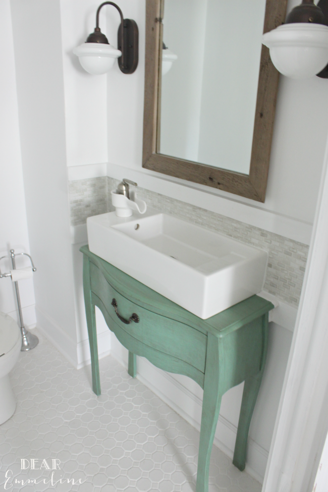 Narrow half bathroom reveal 1910 home renovation for Tiny bathroom sink