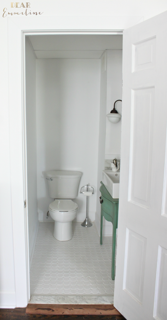 Narrow half bathroom reveal 1910 home renovation Small bathroom design help