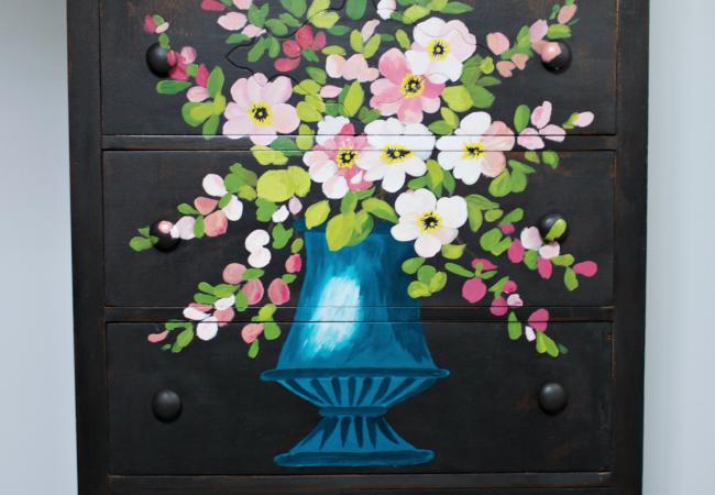 Vintage Floral Oil Painting Inspired Dresser