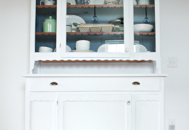White Linen and Blue Bird Kitchen Hutch Redo