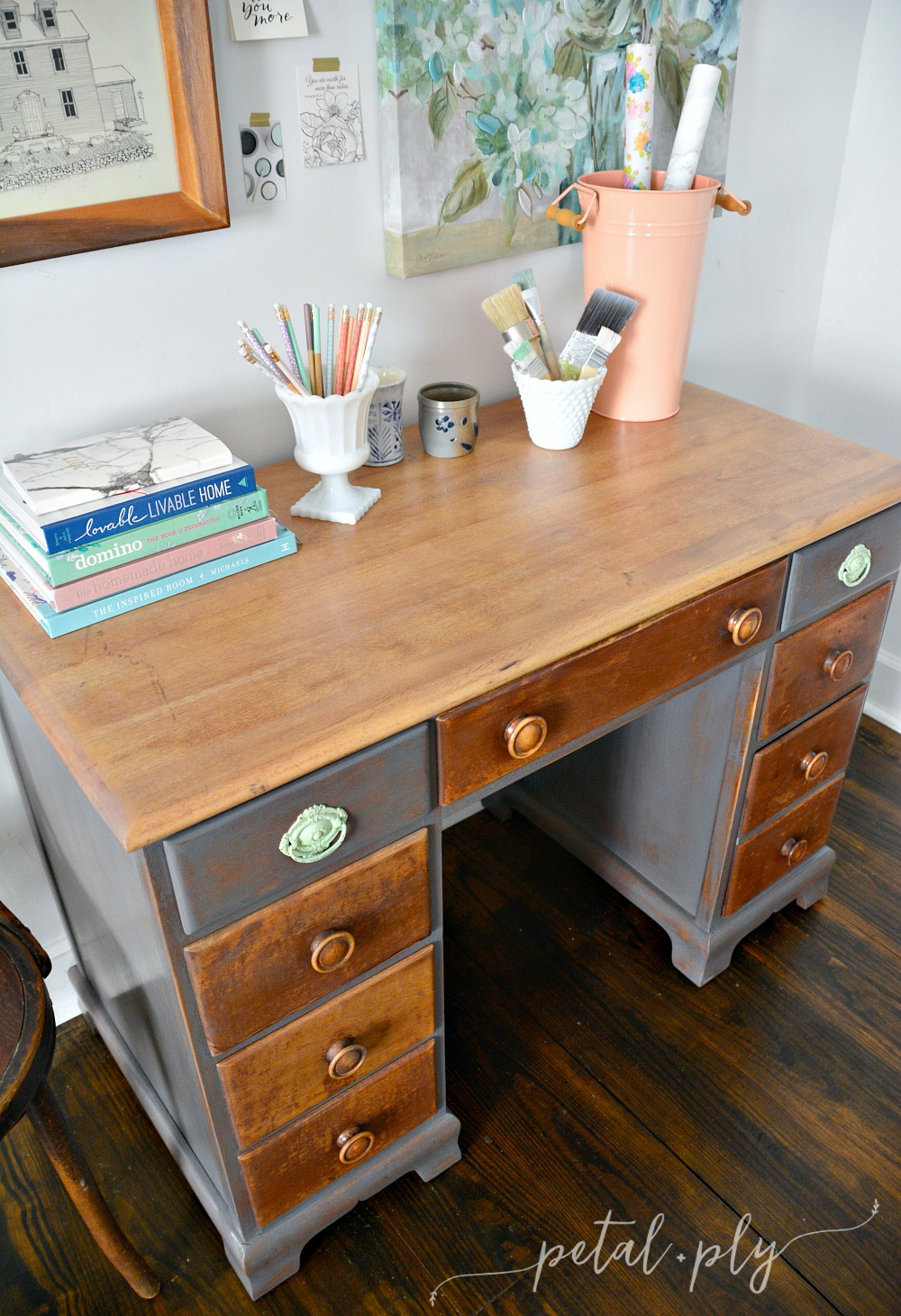 diy-painted-desk-redo-top-weathered-wood-stain