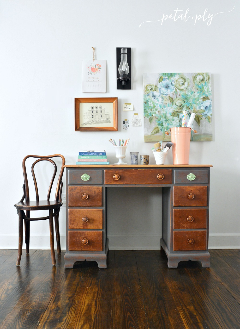 Wm Driftwood Painted Two Tone Desk Redo