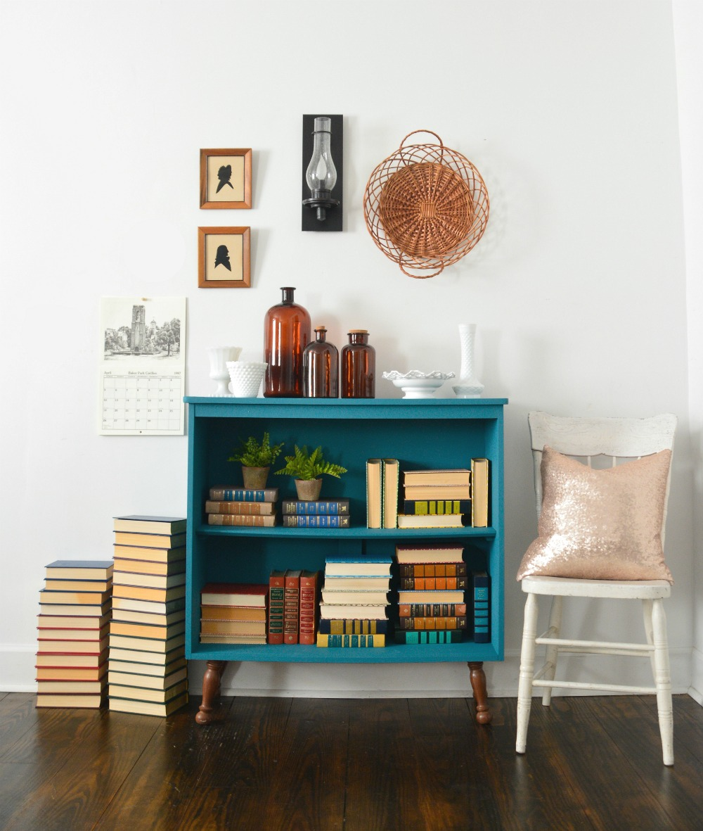 diy-painted-mcm-mid-century-modern-teal-bookshelf