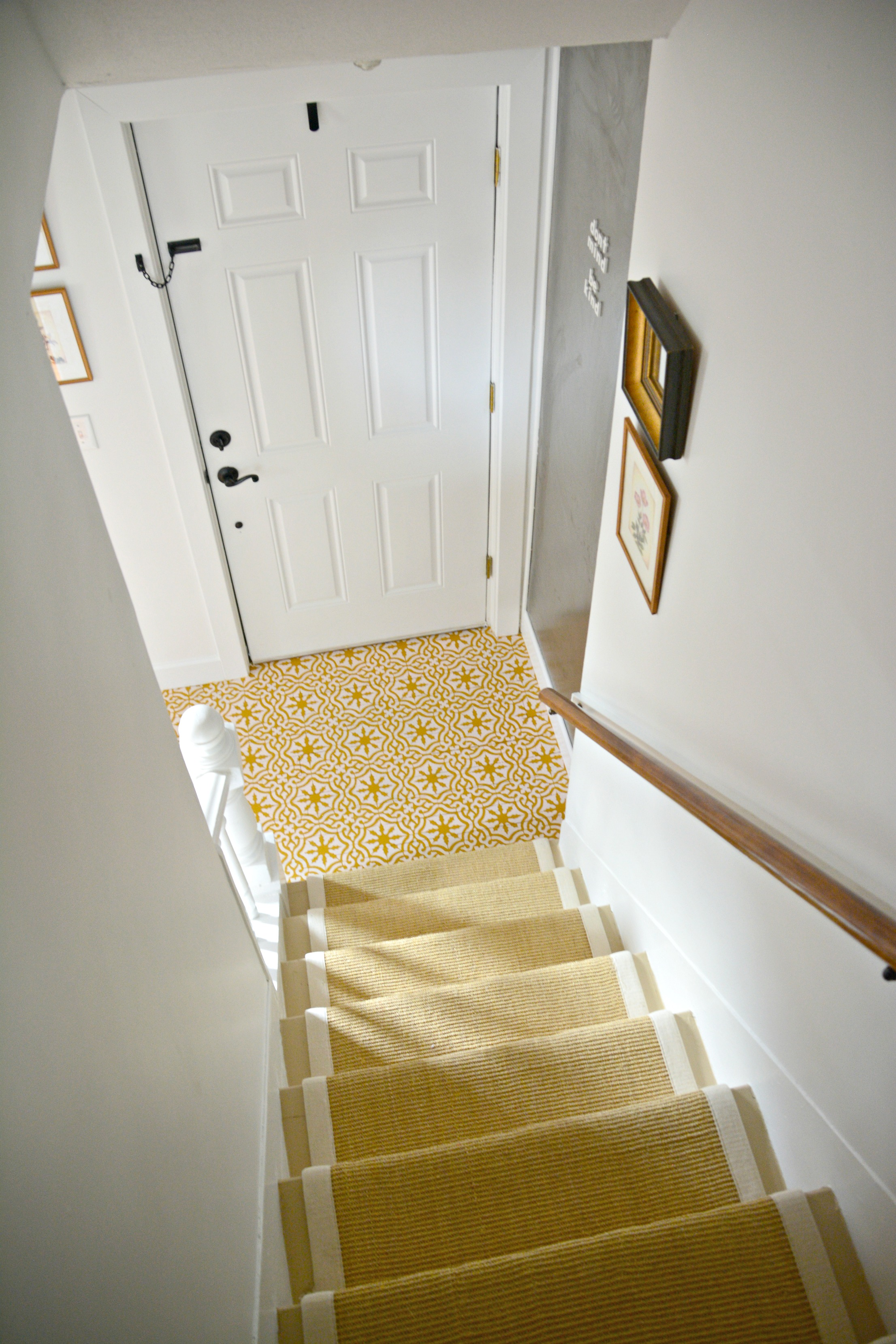 Eclectic Farmhouse Foyer Stairs Stenciled Floor
