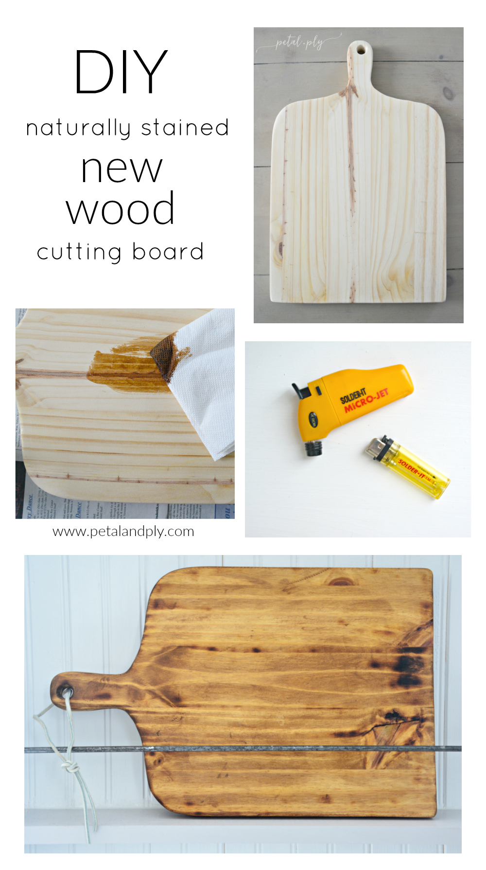 DIY-naturally-stained-new-wood-cutting-board-collage