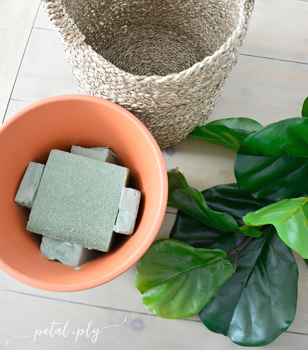 DIY-silk-faux-fiddle-leaf-fig-tree-construction