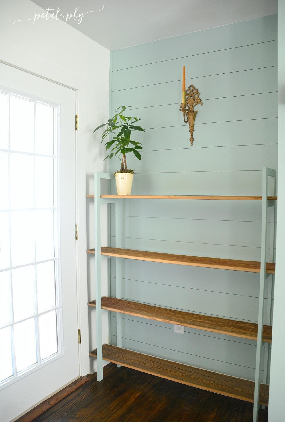 customized-barnwood-shelf-green-blue-shiplap-plank-wall
