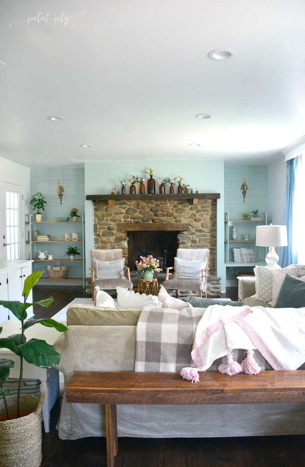 Eclectic botanical farmhouse family room reveal one room for Farmhouse family room